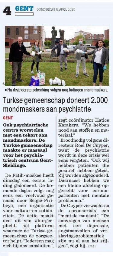 Turkse gemeenschap doneert 2.000 mondmaskers aan psychiatrie